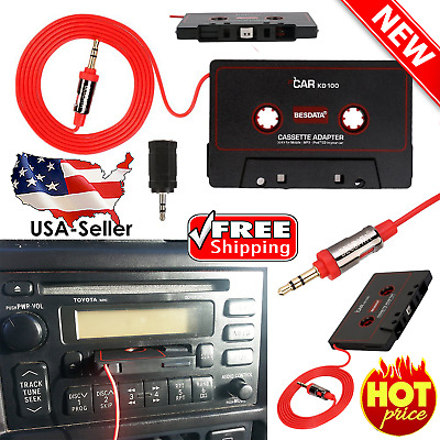 Audio Car Tape Cassette 3.5 MM Adapter Converter Cord for iPhone iPod MP3 AUX CD