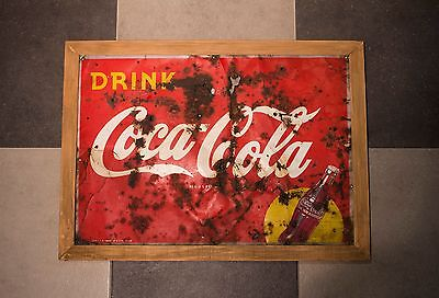 Vintage 1948 Coca Cola Metal Sled Sign 29x 21- Lots of Patina- Taking offers.