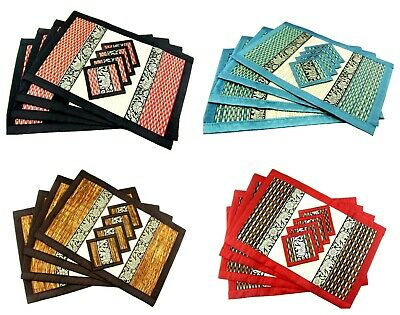 Hand Woven Placemats Set of 4 with Elephant Coasters Natural Straw Table Mats