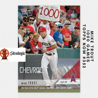 2018 Topps NOW 352 Mike Trout Keeping pace With MLB Greats Through 1000 Games