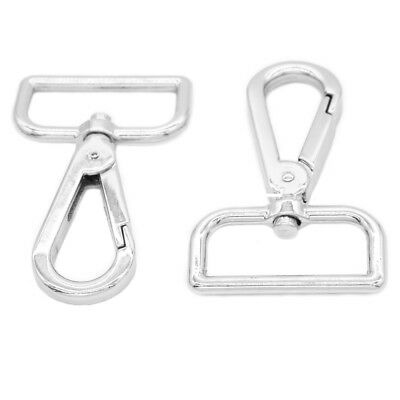 "2x Silver Swivel Lobster Clasp 1.25"" Webbing Snap Hook-Purse Bag Leather Craft"