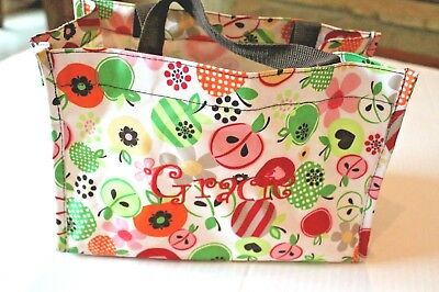 Thirty-One Apple Print Small Tote Bag Embroidered with Name GRACIE