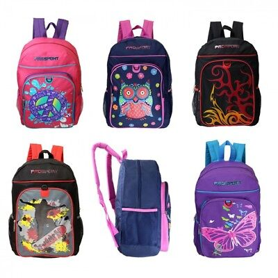 "17""  Kids Padded Back Backpacks in 5 Assorted Prints - Case of 24"