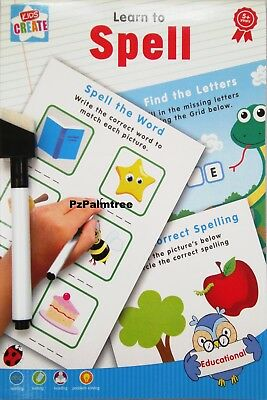 Educational Wipe Clean Learn To Spell Book Spelling Writing Alphabet Worksheet