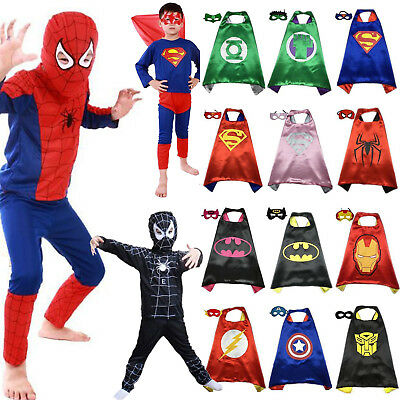 Kinder Jungen Mädchen Marvel Superhero Cosplay Kostüm Cape Masken Fancy Dress