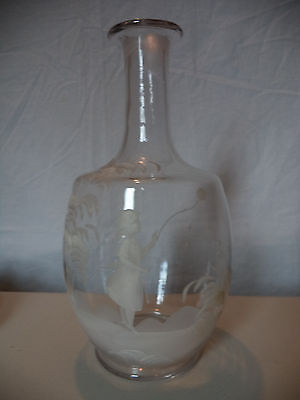 Antique 19th Century Hand Blown Painted Enamel Mary Gregory Art Glass Decanter