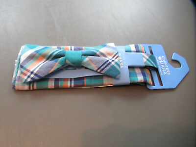 a162b7e7f194 Countess Mara Men's Pre-Tied Bow Tie and Pocket Square, Teal Multi, One