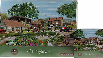 Set Of 4 Vintage Farm Scene Dinner Place Mats And Coasters
