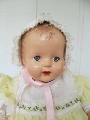 Vintage Baby / Doll Bonnet  White with Pink Satin Ribbons and White Lace - Nice!