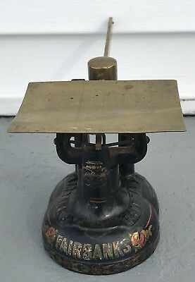 Rare Antique Fairbanks 1860's Iron Postal Scale Gold, Pinstripes, Floral Detail