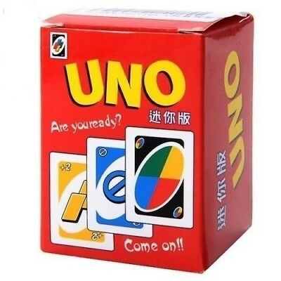 2pcs Funny MIni UNO Card Game Classic Family Game Playing Cards Toy (112 Sheet)