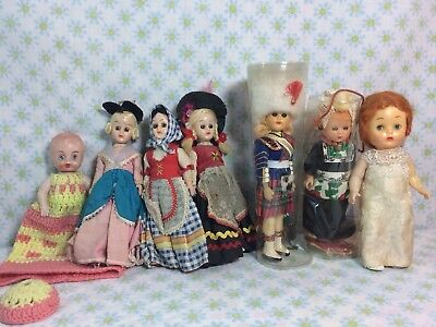 Lot Of 8 Vtg Sleepy Eye Antique Dolls Celluloid Plastic Creepy
