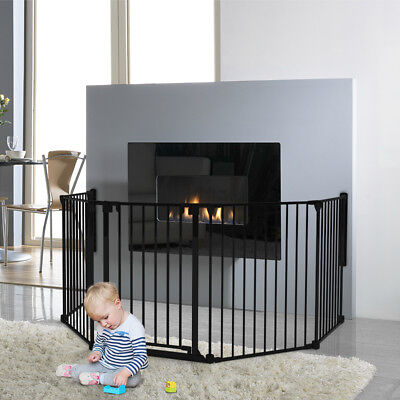 X-Large Steel Child Baby Safety Fireplace Screen Barrier Playpen + Gate