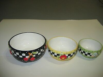 """Mary Engelbreit  Floral ~ Nesting Serving Bowls ~ Set of 3 ~ 6"""" X 5"""" X 4"""""""