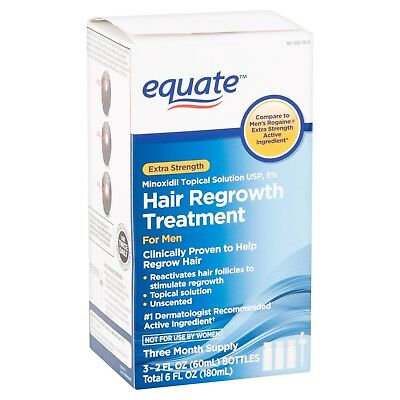 NEW! Equate Extra Strength Minoxidil Hair Regrowth Treatment for Men, 2 Oz, 3 Ct