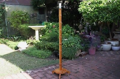 Vintage Retro Mid Century Tiki Bar Wood Bamboo Cane Tall Standard Floor Lamp