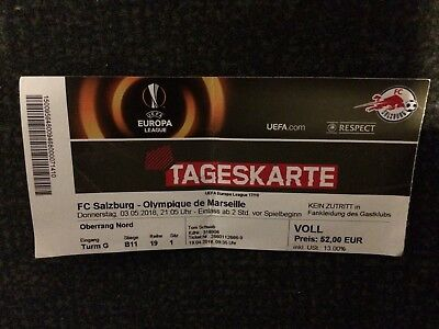 Sammler Ticket FC Salzburg vs Olympique Marseille UEFA Europa League 2017/18