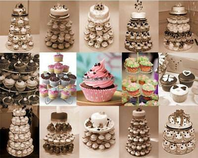 5 TIER CRYSTAL Clear Acrylic Round Cake Cupcake Stand Wedding ...