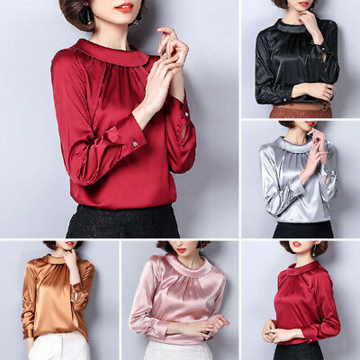Ladies Satin Silky Shirt Vintage Causal Shirts Office Shiny Blouse Pullover Tops