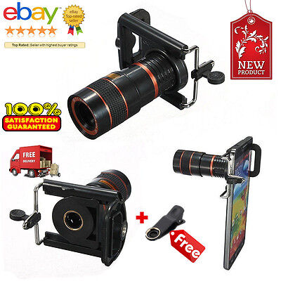 Universal 8X Zoom Lens Optical Clip Telephoto Telescope Cell Phone Camera Lens