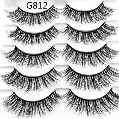 SKONHED 5 Pairs 3D Mink Hair False Eyelashes Thick Wispy Cross Lashes Natural