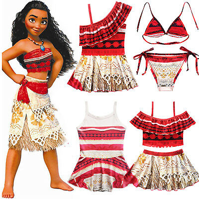 Kids Baby Girls Moana Princess Swimwear Swimsuit Monokini Bikini Cosplay Costume