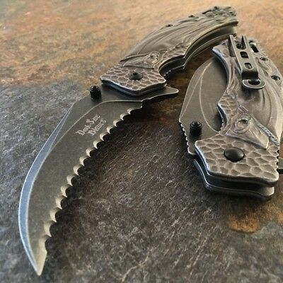 "8"" GRIM REAPER Spring Assist Open STONEWASH SERRATED Blade Folding Pocket Knife"
