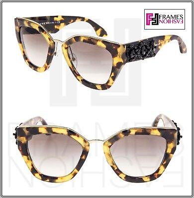 d19a259bb7 PRADA ORNATE BEAD Embellishment PR10TS Medium Havana 10T Mirror Sunglasses