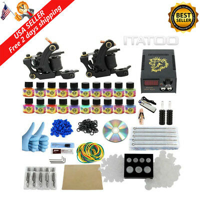 Complete Tattoo Kit for Beginners 20 Inks 50 Needles and 2 Pro Tattoo Machine