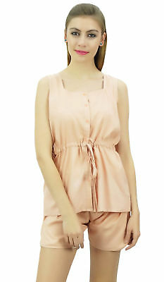 Bimba Women's Drawstring Solid Peach Pj Set Buttondown Shirt Shorts Dress