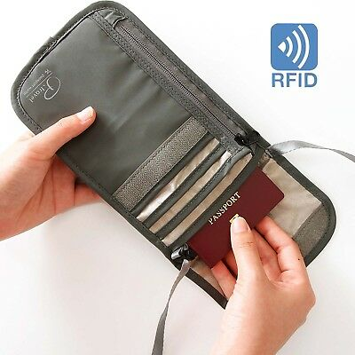 RFID Blocking Waterproof Passport Holder Organizer Neck Wallet Multiple Pockets
