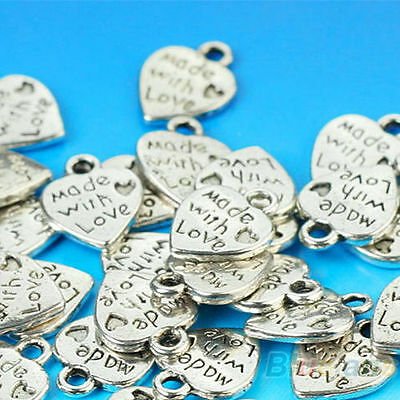 50X Silver Made With Love Heart Beads Pendant DIY Jewelry Handmade Acces