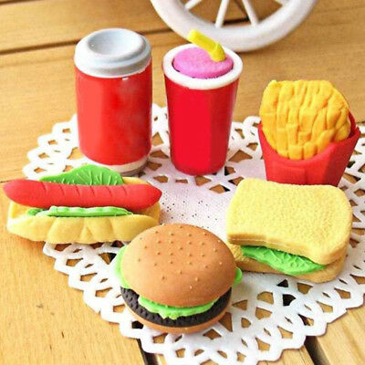 3D Mini Simulation Food Hamburger/Cola/French Fries Kids Toy Eraser Stationery