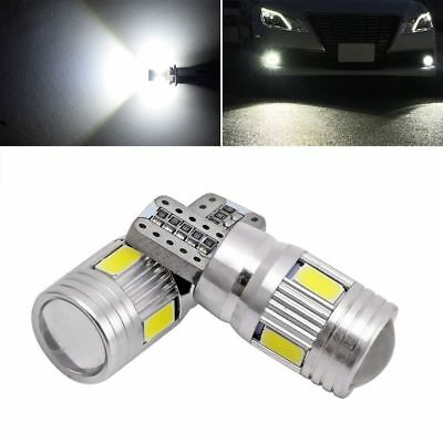 2x T10 High Power White LED Daytime Fog Lights Bulb License Plate 6000K Lights