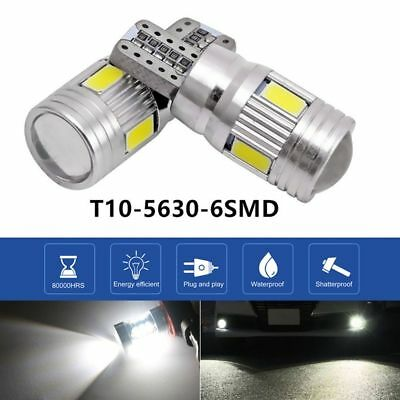 2Pcs T10 High Power White LED Daytime Fog Lights Bulb License Plate 6000K Lights