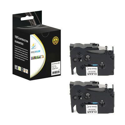 2PK Replacement TZe131 Black on Clear 1/2in 26.2ft Label Tape for Brother Ptouch