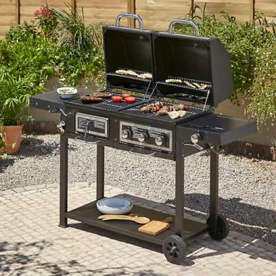Large Combination Gas Charcoal Barbecue Bbq Grill Coal Outdoor Garden Cooking