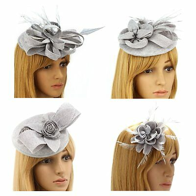 Silver/Grey Ladies Fascinator Hat Headband Clip Flower Feather Wedding Races New