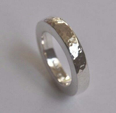 Handmade Contemporary 925 Sterling Silver Beaten Finish Ring Size N (Us 7)