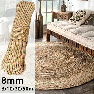Macrame 8mm 3-50m Jute Ropes Twine Rope Natural Hemp Cord String Decor Craft DIY