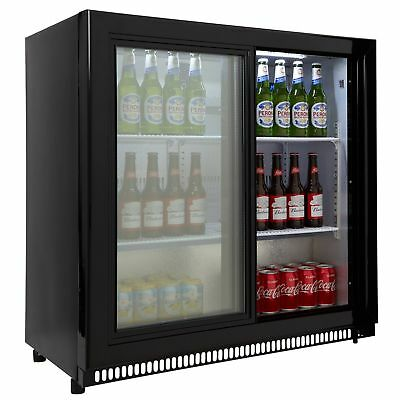 Cookology Commercial Sliding 2 Door Bottle Display Fridge, Bar Beverage Cooler