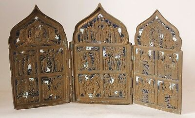 Large Antique Russian Tri-Fold Bronze Enameled Icon Skladen c.1890