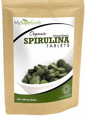 Organic Spirulina Tablets 300 x 500mg Packed with Protein, Calcium and Vitamins