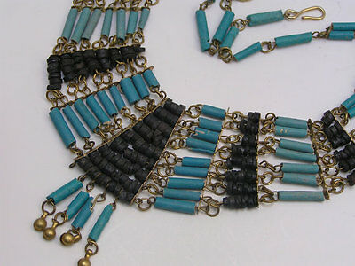 Vintage Art Deco Egyptian Rev Faience beads Gold Plated Bib Necklace