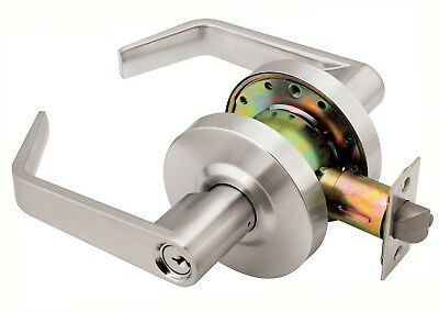 Commercial Quality Office Door Keyed Lever Lock Handle Satin Chrome Finish