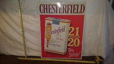 Chesterfield Cigarettes Embossed 1950's Metal Sign Nos Ligget&myers Tobacco Co