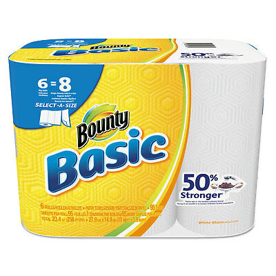 Bounty Basic Select-a-Size Paper Towels 5 9/10 x 11 1-Ply 95/Roll 6 Roll/Pack