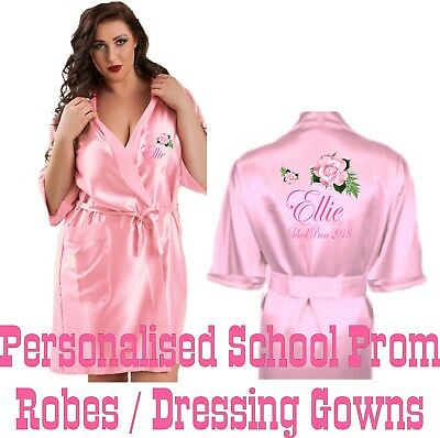 Personalised School Prom Robe Satin Silky Dressing Gown - Get Ready in Style