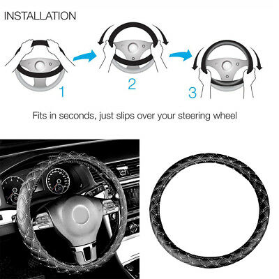1x 14'' 15'' Faux Leather Steering Wheel Cover Universal Car SUV Black&White Set