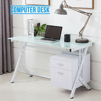 White Glass Top Computer Desk with Side 2 Drawers Home Office PC Dressing Table